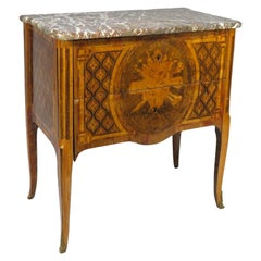 Louis XVI Transitional Two-Drawer Commode with a Breche Marble Top