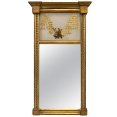 Louis XVI Trumeau Gilt Gold Giltwood Mirror Smaller Scale