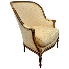 French Upholstered Bérgère or Armchair-Louis XVI Style