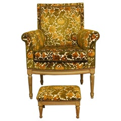 Louis XVI Upholstered Library Chair with Matching Ottoman