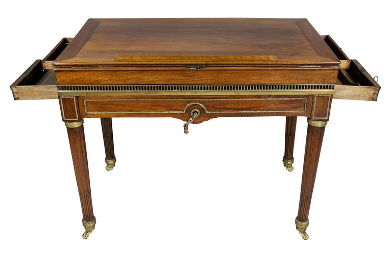Late 18th Century Louis XVI Walnut Architects Table a La Tronchin