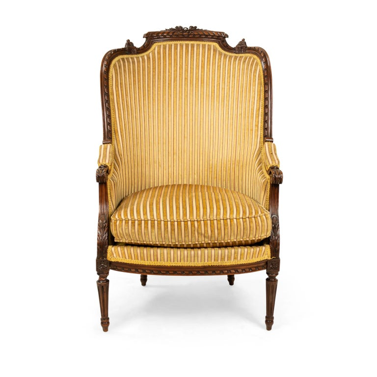 French Louis XVI Walnut Bergère Armchairs For Sale