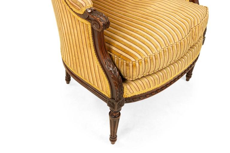 Upholstery Louis XVI Walnut Bergère Armchairs For Sale