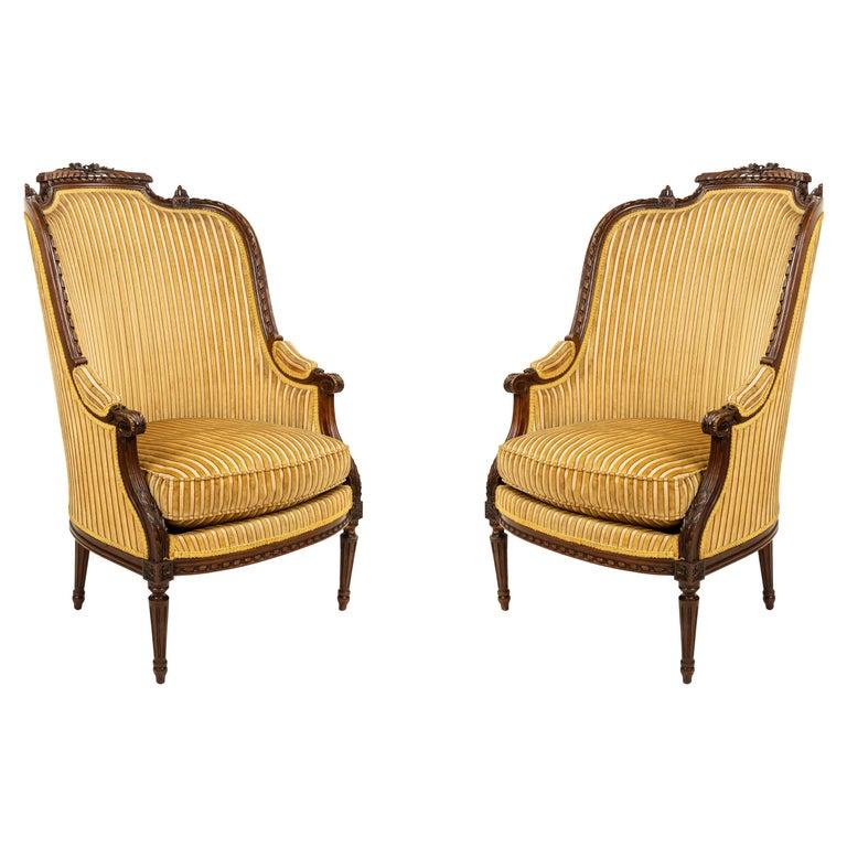 Louis XVI Walnut Bergère Armchairs For Sale