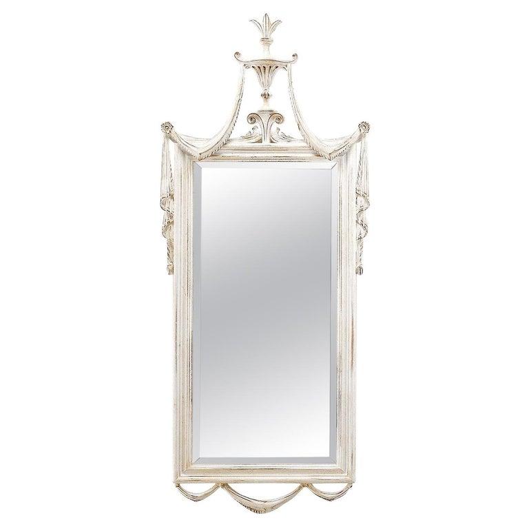 Louis XVI White Wall Mirror by Spini Firenze