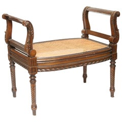 Louis XVI Style Window Seat with Caned Seat & Fluted Legs