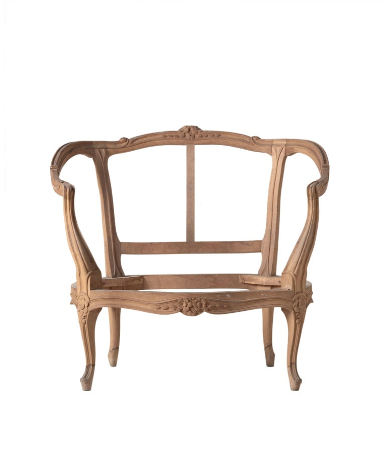 Louis XVI style Bregere hand-carved chair made in Italy.