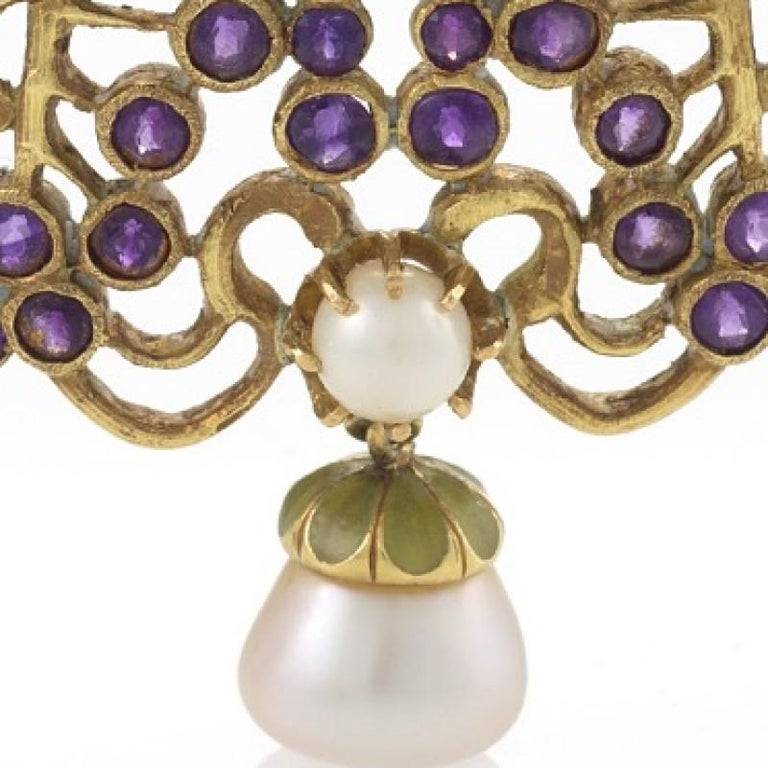 Women's Louis Zorra Art Nouveau Diamond Amethyst Pearl and Plique-à-Jour Enamel Brooch For Sale