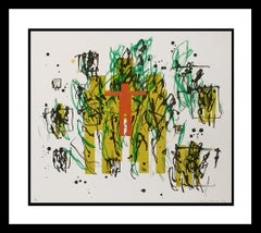 Untitled, Figure with gestural shadows, 1991 Color Lithograph with Chine Colle,