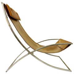 """""""Louisa"""" Lounge Chair Leather and Chrome by Marcello Cuneo, Italy, 1970s"""