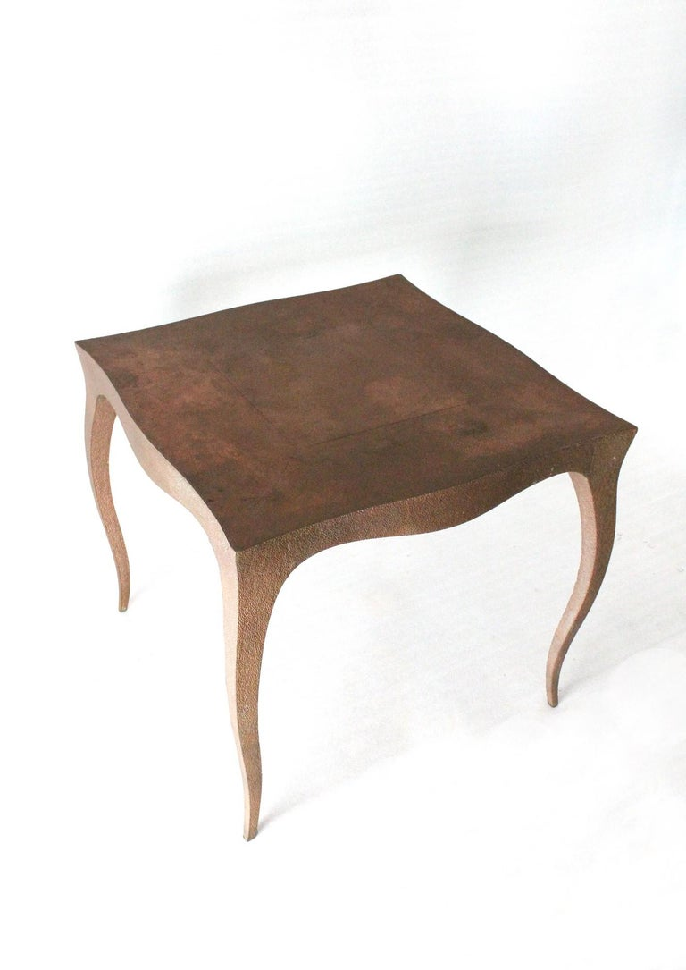 American Louise Card Table in Hammered Copper Clad Over Teak by Paul Mathieu For Sale