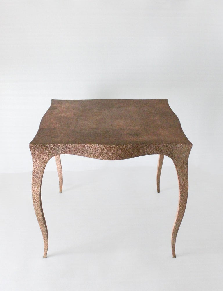 Hand-Carved Louise Card Table in Hammered Copper Clad Over Teak by Paul Mathieu For Sale