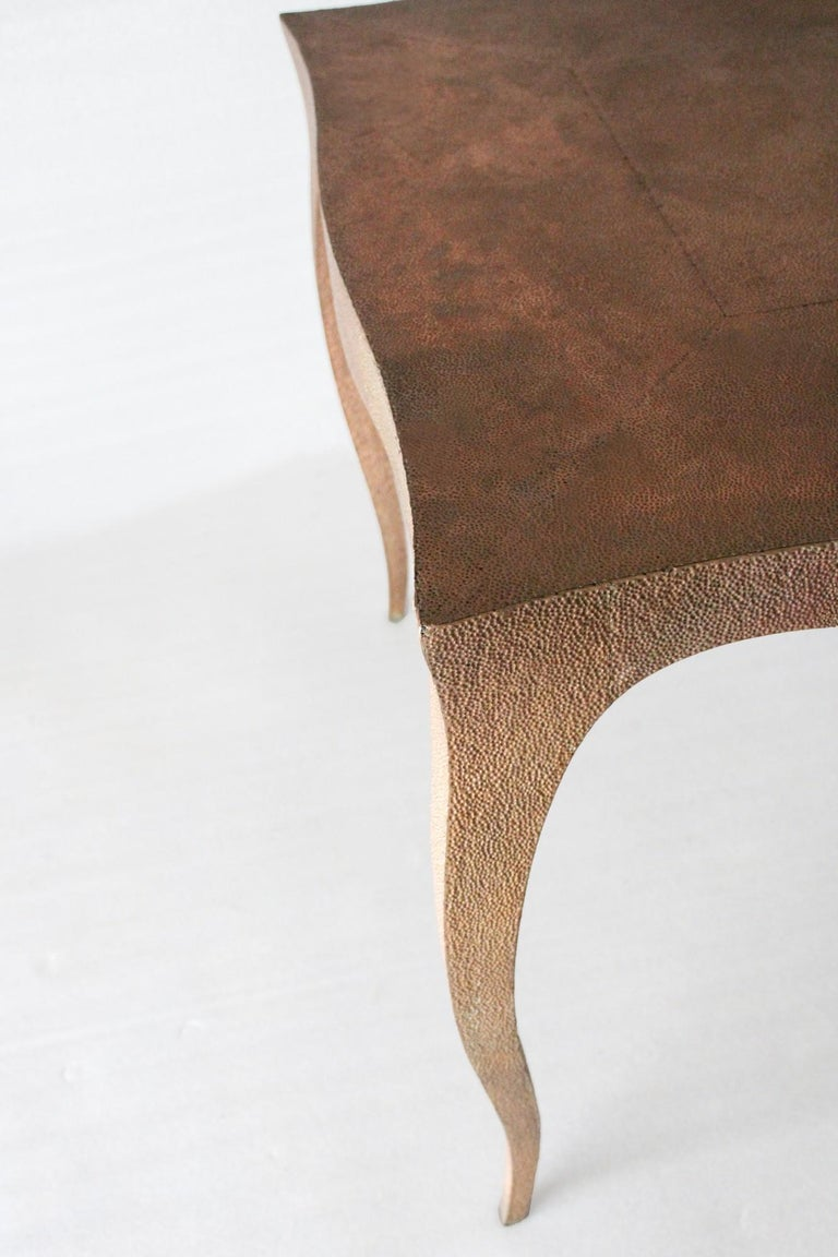 Metal Louise Card Table in Hammered Copper Clad Over Teak by Paul Mathieu For Sale