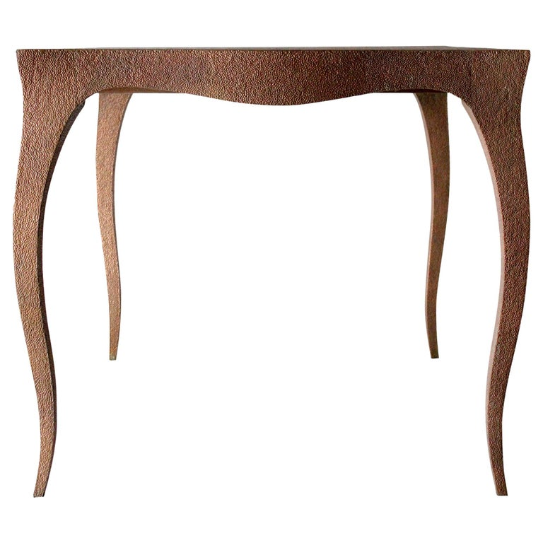 Louise Card Table in Hammered Copper Clad Over Teak by Paul Mathieu For Sale