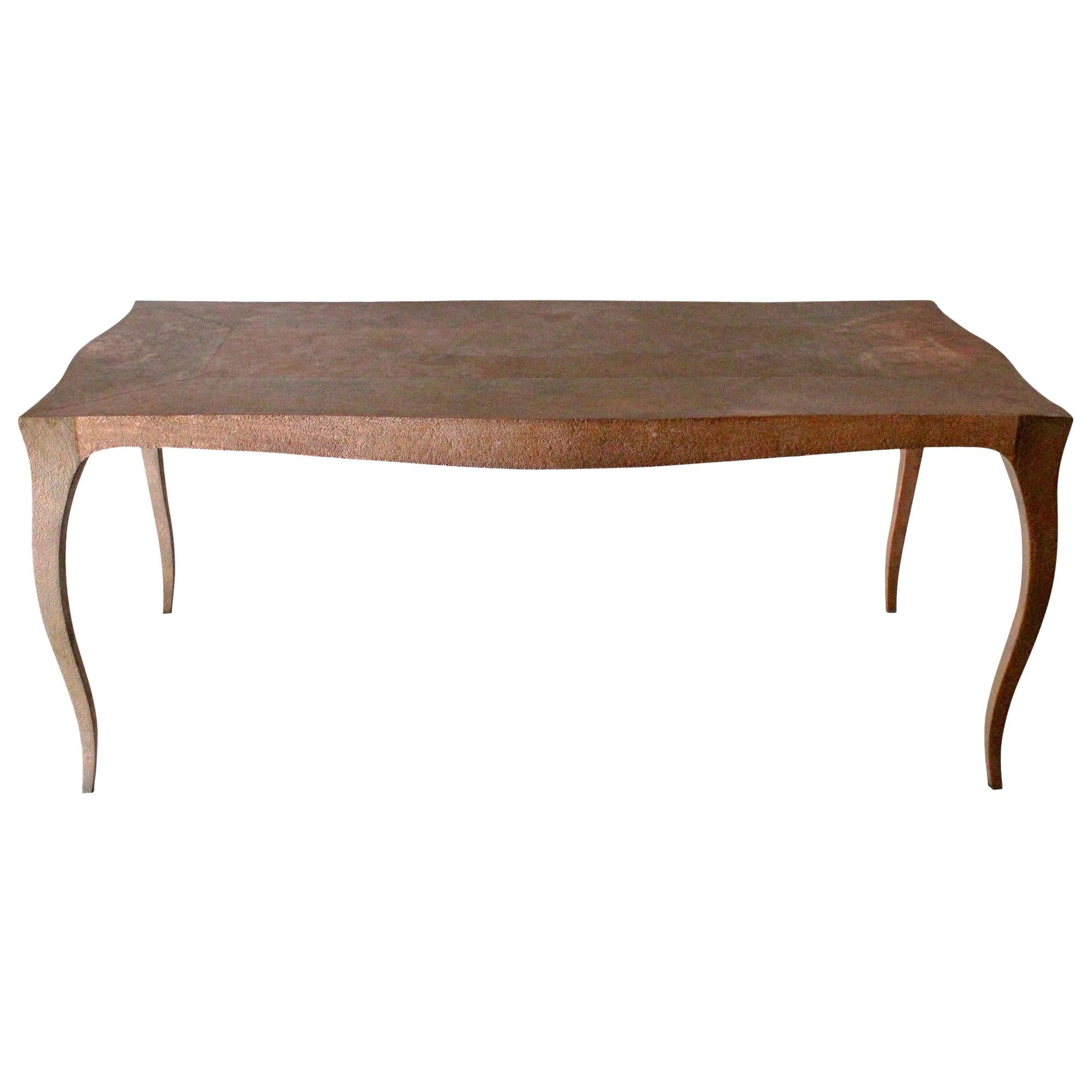 Louise Dining Table in Hammered Copper Over Teak by Paul Mathieu for Stephanie
