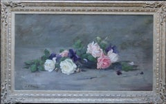 Roses and Violets - Scottish Edwardian art floral oil painting exhib 1908 RSA