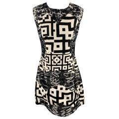 LOUISE GRAY Size 10 Gray Graphic Wool / Silk Shift Dress