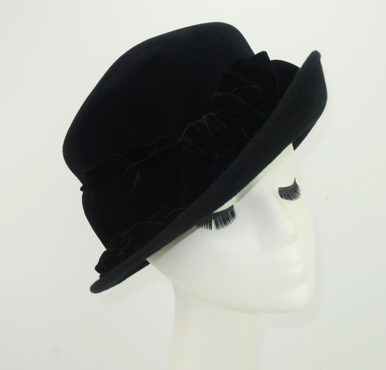 Women's Louise Green Black Wool Felt & Velvet Vintage Inspired Hat For Sale