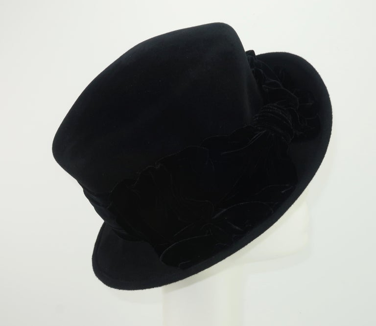 Louise Green Black Wool Felt & Velvet Vintage Inspired Hat For Sale 1