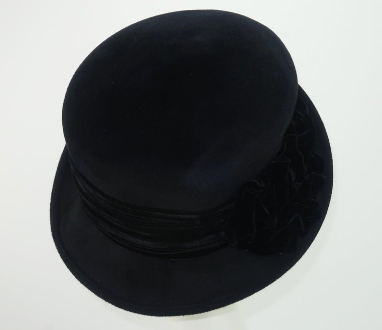 Louise Green Black Wool Felt & Velvet Vintage Inspired Hat For Sale 2