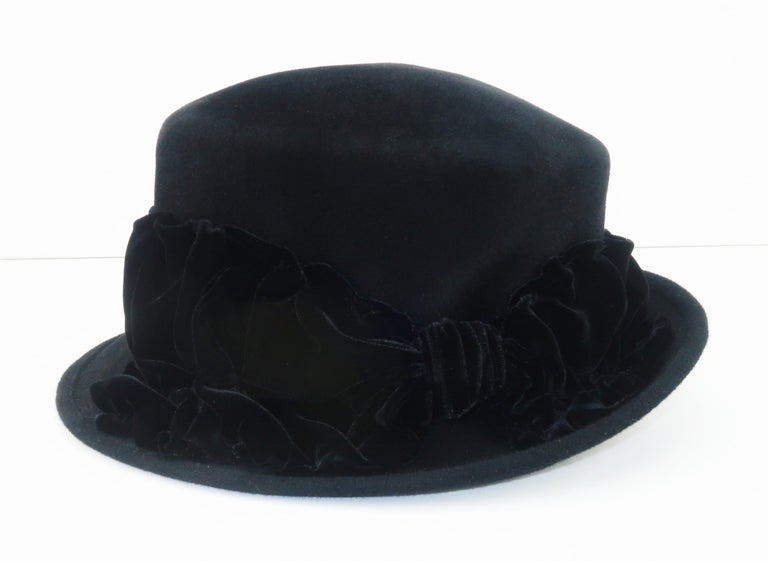 Louise Green Black Wool Felt & Velvet Vintage Inspired Hat For Sale 3