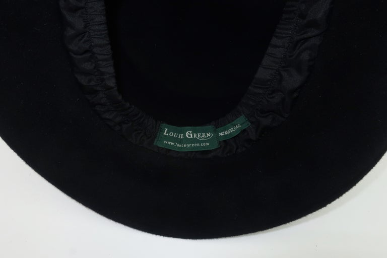 Louise Green Black Wool Felt & Velvet Vintage Inspired Hat For Sale 5