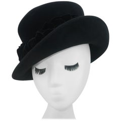 Louise Green Black Wool Felt & Velvet Vintage Inspired Hat