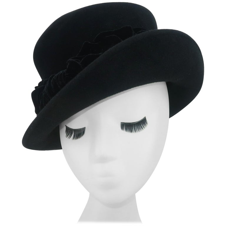 Louise Green Black Wool Felt & Velvet Vintage Inspired Hat For Sale