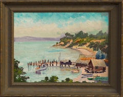 China Camp Village and Fishing Boats San Pablo Bay by Louise Cunningham Rare Gem