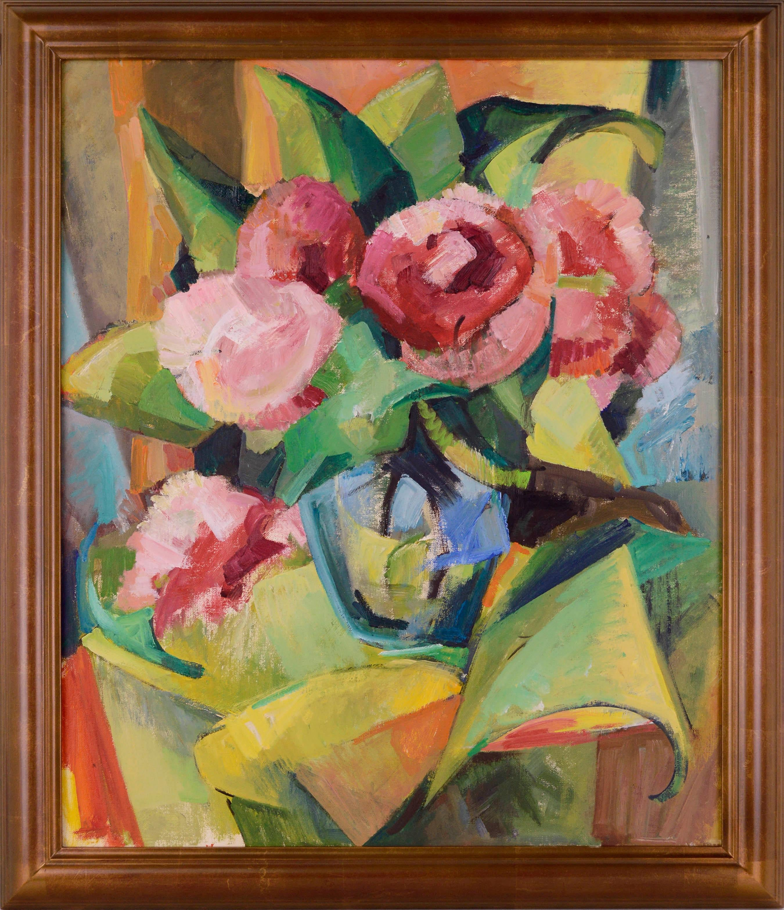 Mid-Century Modern Cubist Roses Abstract