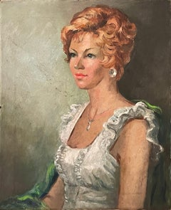 Vintage French Portrait Oil Painting by Louise-Jeanne Cottard Fossey