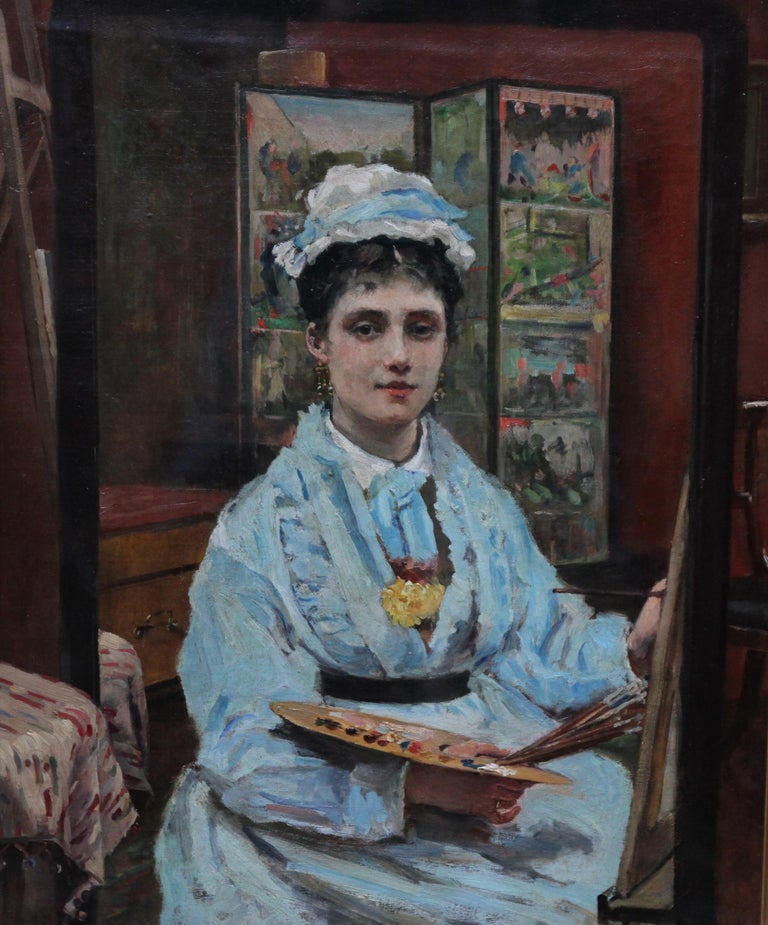 Self Portrait - British Victorian oil painting exhibited art female artist - Painting by Louise Jopling