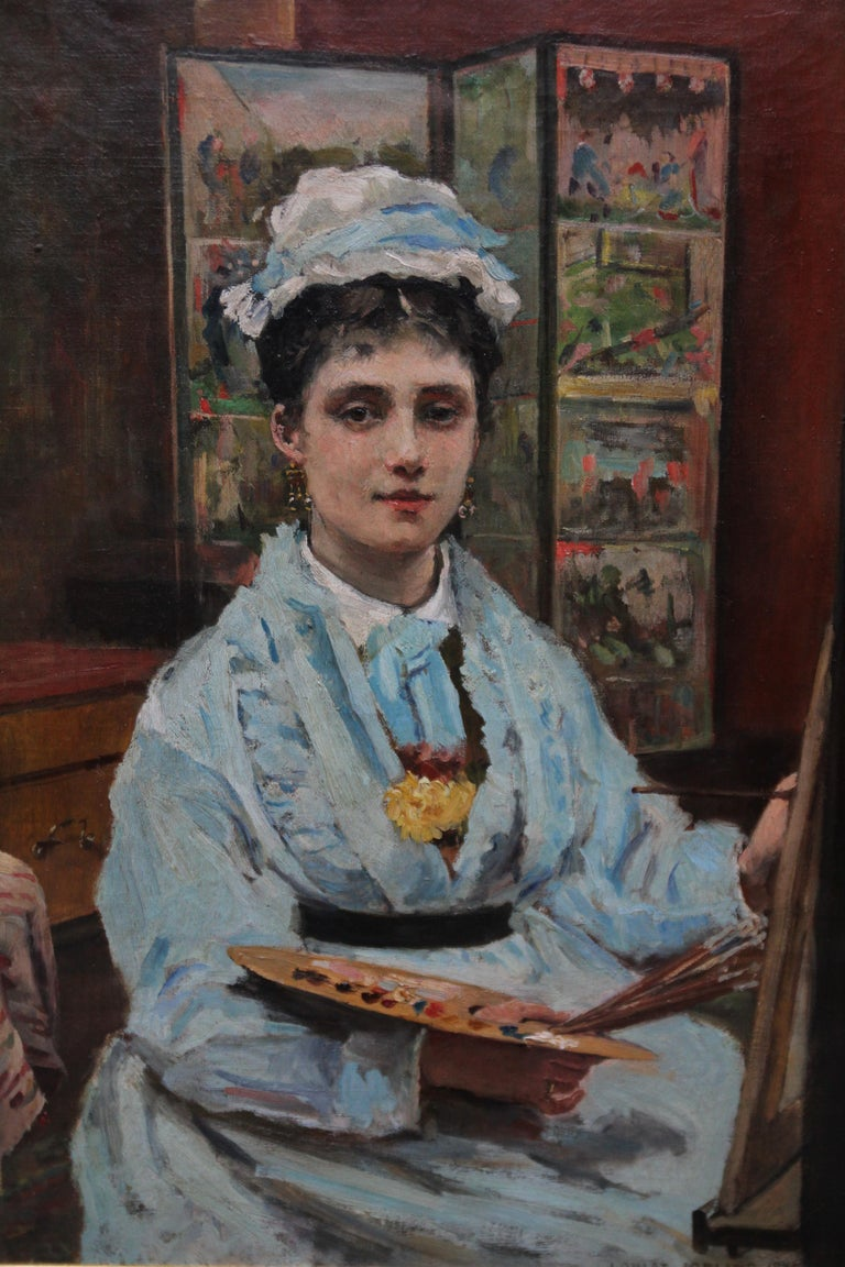 Self Portrait - British Victorian oil painting exhibited art female artist - Realist Painting by Louise Jopling