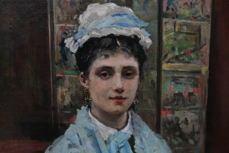 Self Portrait - British Victorian oil painting exhibited art female artist - Gray Interior Painting by Louise Jopling