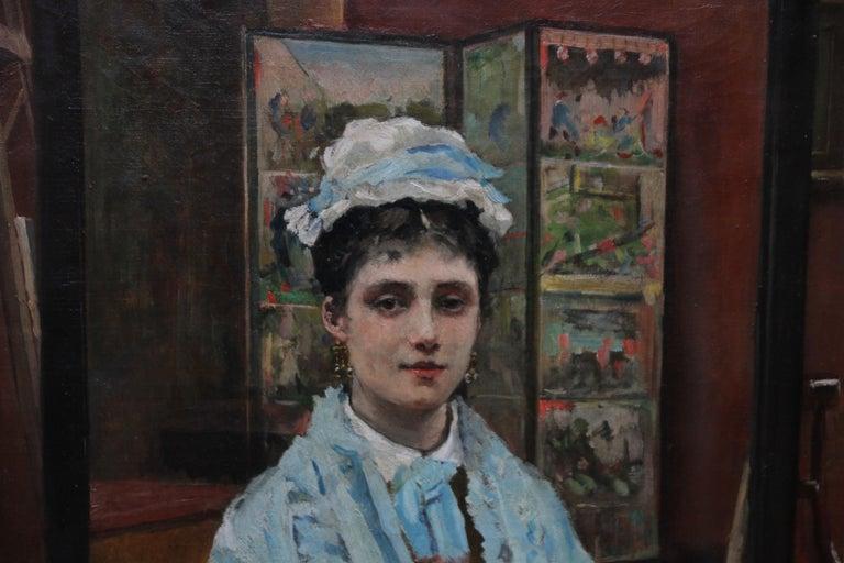 Self Portrait - British Victorian oil painting exhibited art female artist For Sale 1