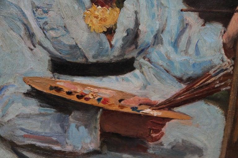 Self Portrait - British Victorian oil painting exhibited art female artist For Sale 2