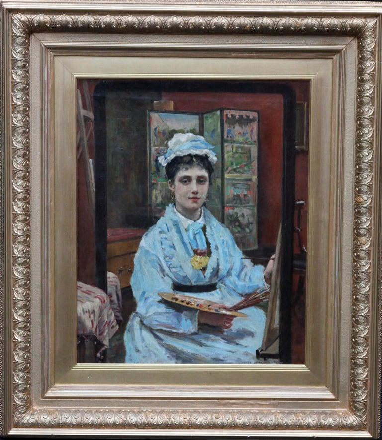 Louise Jopling Interior Painting - Self Portrait - British Victorian oil painting exhibited art female artist