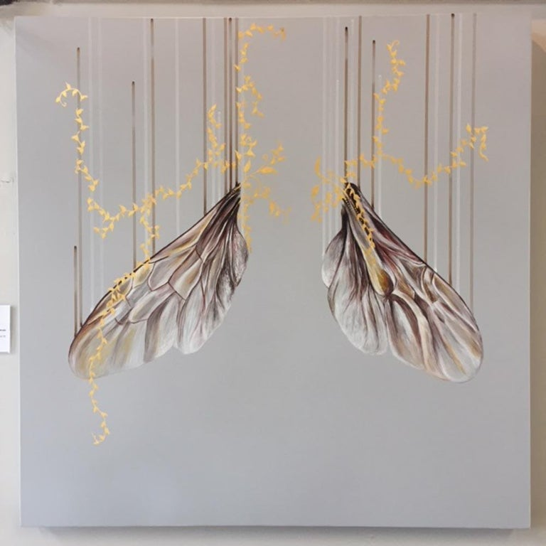 Architecture of Alchemy, delicate silver butterfly wings, oil painting 3