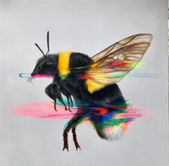 Interference - bee, contemporary art, painting, insects, acrylic, canvas, nature