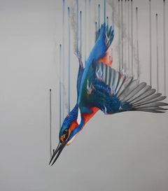 Fire and Water by Louise McNaught, contemporary art, bird art, kingfisher
