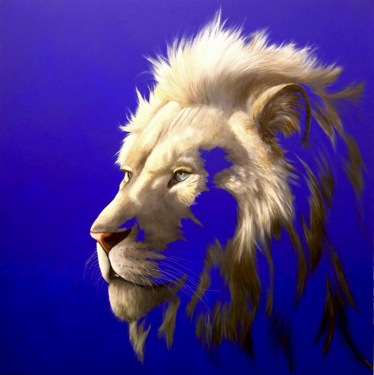 Limited edition Giclee print of a lion that was handpainted by the artist on Somerset Velvet 330gsm Paper 100x100cm, Edition of 20.  This piece depicts the iconic African Lion in all his glory. Sadly a species that is now under threat, this lion is