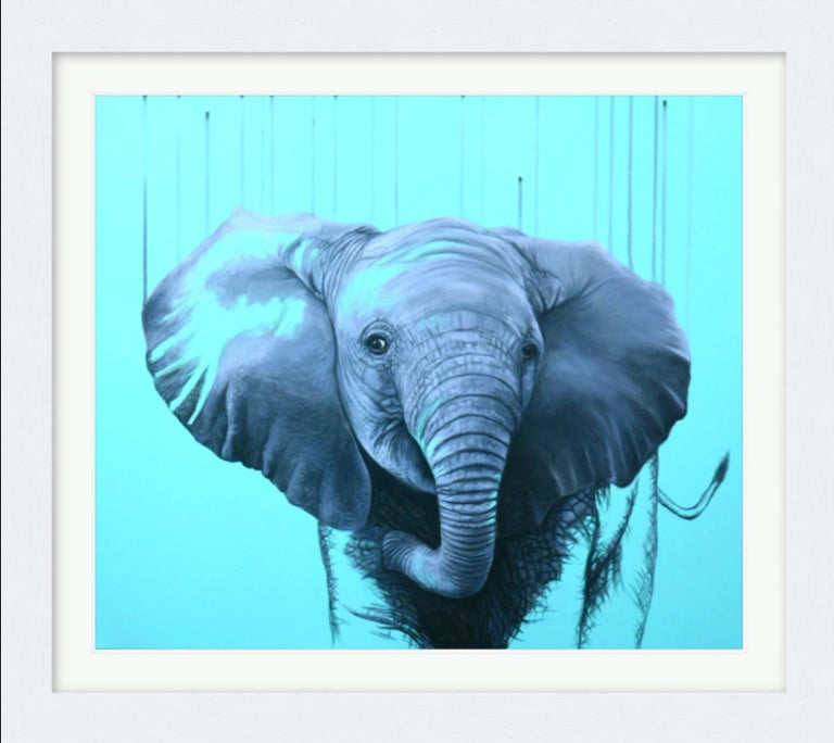 You are a Star by Louise McNaught - Blue Pop Elephant Animal Contemporary Print For Sale 1