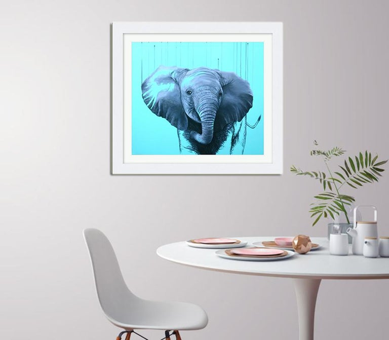 You are a Star by Louise McNaught - Blue Pop Elephant Animal Contemporary Print For Sale 2