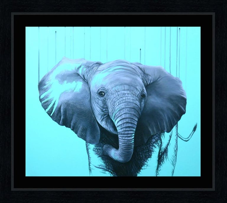 You are a Star by Louise McNaught - Blue Pop Elephant Animal Contemporary Print For Sale 3