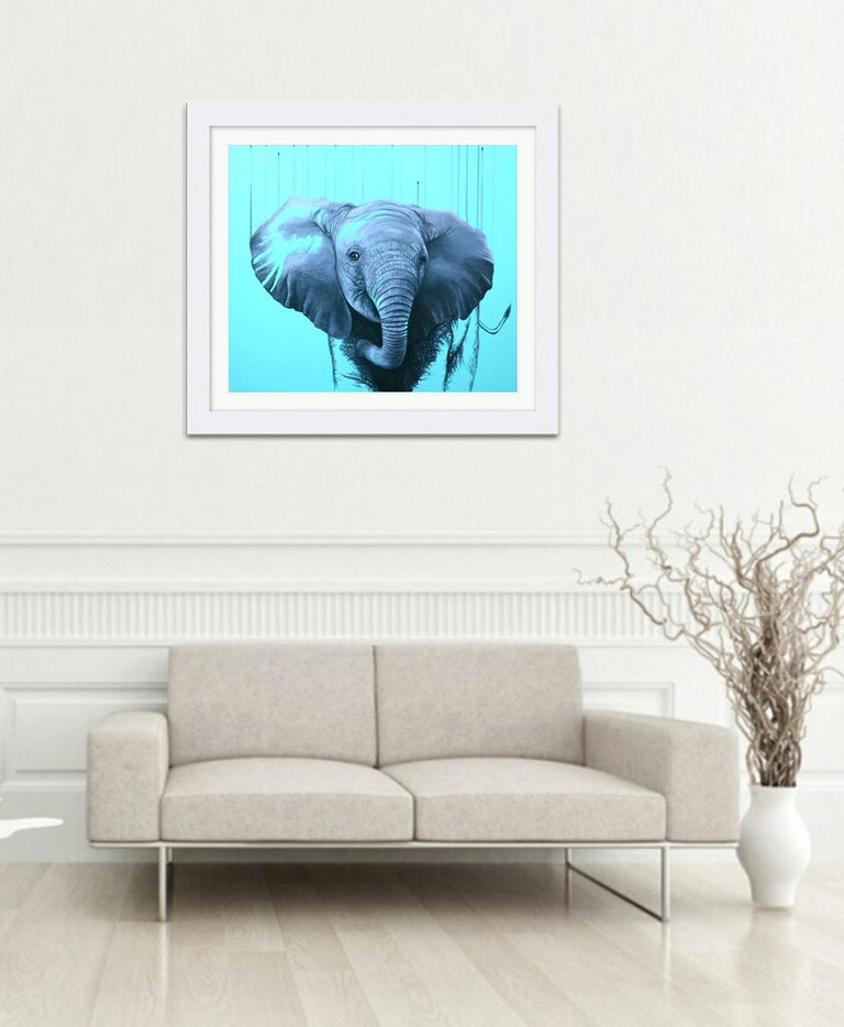 You are a Star by Louise McNaught - Blue Pop Elephant Animal Contemporary Print For Sale 5