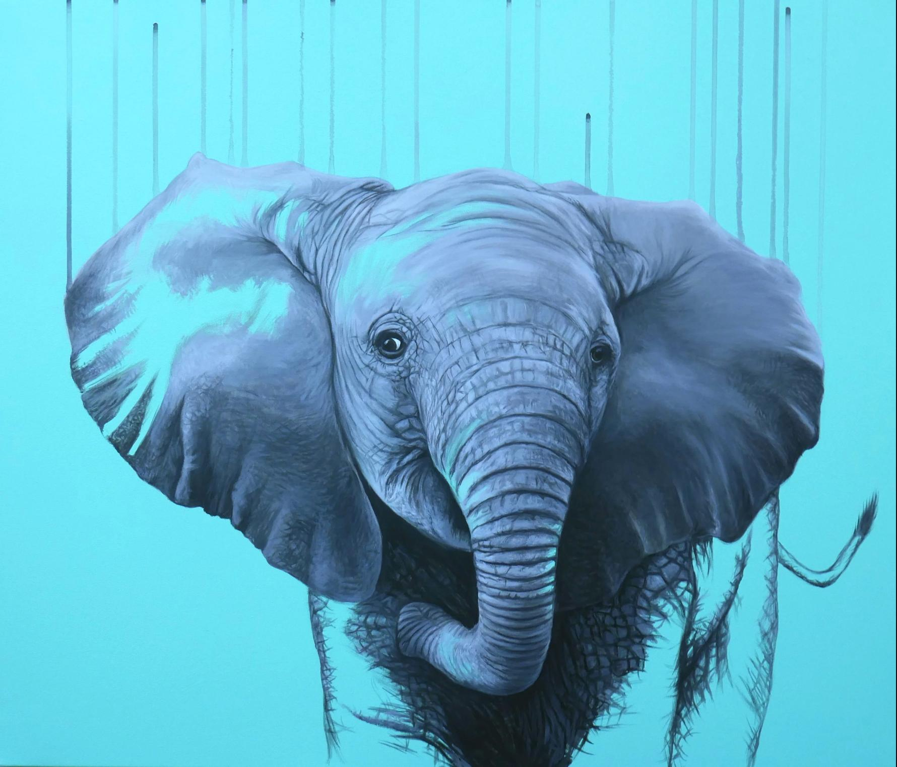 You are a Star by Louise McNaught - Blue Pop Elephant Animal Contemporary Print