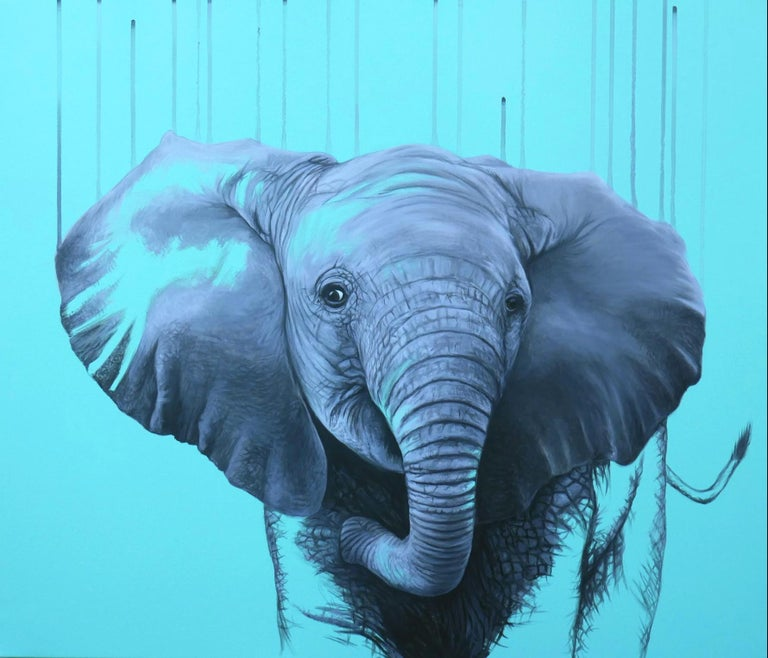Elephant on blue - limited edition Giclee print of an original artwork by the artist on Somerset Velvet 330 gsm Paper. Edition of 25, 60x70cm. Signed, numbered and embossed-stamped by the Artist.  This contemporary piece celebrates the vibrancy and