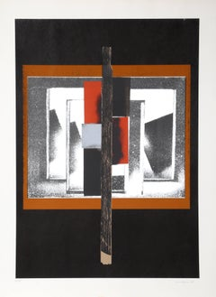 Geometric Abstract Silkscreen by Louise Nevelson