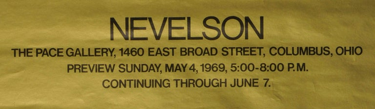 Nevelson  Poster for The Pace Gallery, Columbus Off set lithograph printed on gold background Signed twice in ink by Nevelson Signed in ink by Nevelson under the right edge of the sculpture and again in red ink at the bottom right edge of the
