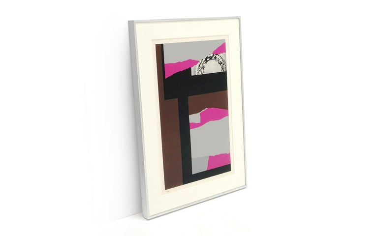 Louise Nevelson (American, 1899-1988) Untitled, 1980 Original five screen serigraph collage Signed and numbered in pencil by the artist. 147 of an edition of 150. See details in the last photo about the archival framing of this piece.